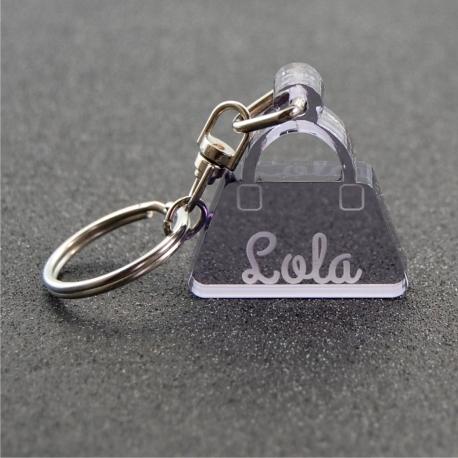 Porte clés petit sac fumé gris