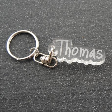 Porte clés prénom transparent