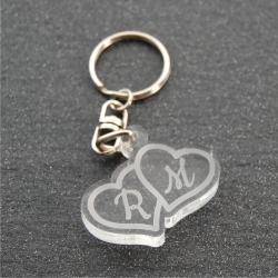 Porte clés initiales coeur