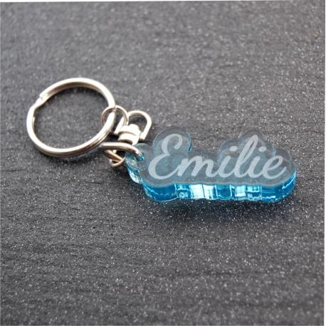 Porte clés prénom fumé bleu