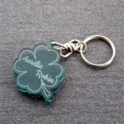 Porte clés trèfle duo fumé vert