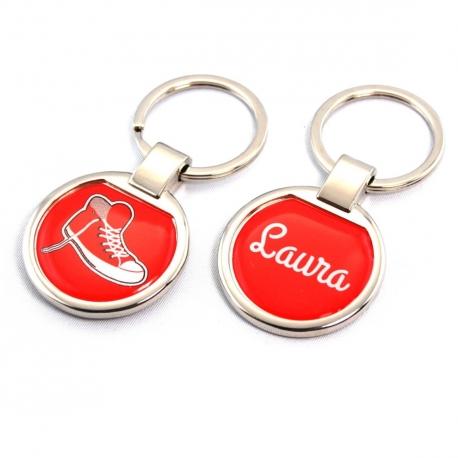 Porte clés métal basket rouge