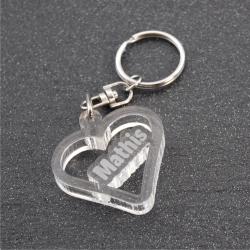 Porte clés coeur personnalisable prénom