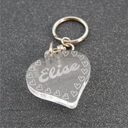 Porte clés personnalisé petits coeurs
