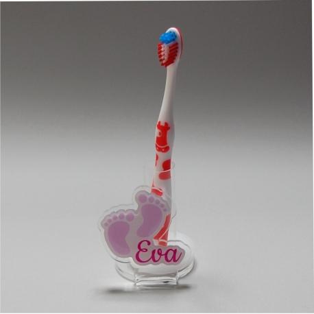 Support brosse à dents empreintes rose pastel