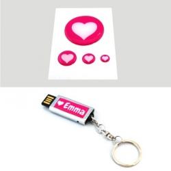 Duo clé USB + stickers 3D coeur