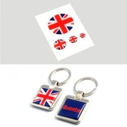 Duo porte clés + stickers 3D anglais