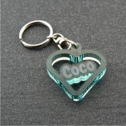 Porte clés coeur  personnalisable prénom fumé vert
