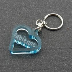 Porte clés coeur  personnalisable prénom fumé bleu