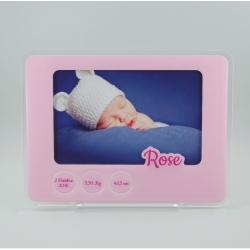 Cadre photo naissance rose pastel personnalisé