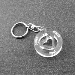Porte clés coeur multi prénoms