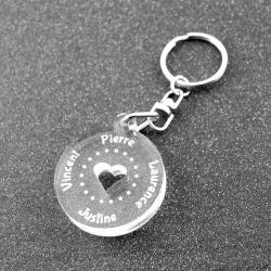 Porte clés rond multi prénoms