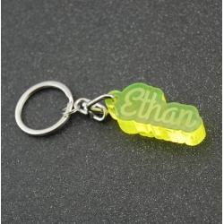 Porte clés prénom fluo jaune