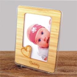 cadre photo personnalisable plexiglas et bambou