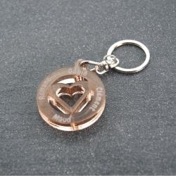 Porte clés coeur multi prénoms bronze