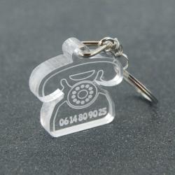 """Porte clés """"oups"""" rétro transparent"""
