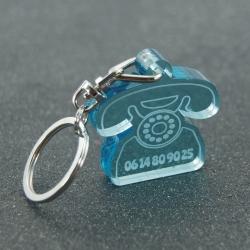 """Porte clés """"oups"""" rétro fumé bleu"""