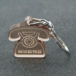 """Porte clés """"oups"""" rétro fumé bronze"""