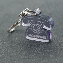 """Porte clés """"oups"""" rétro fumé gris"""
