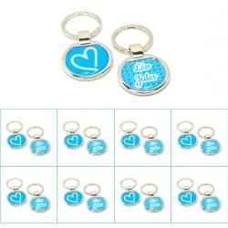 Pack anniversaire 8 porte clés bleu clair