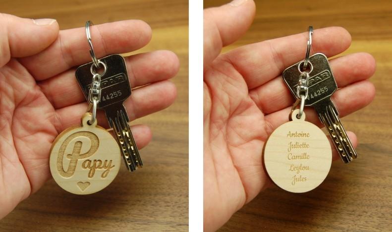 Porte clés gravé Papy