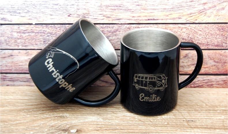 Mug en acier gravé au prénom de votre choix